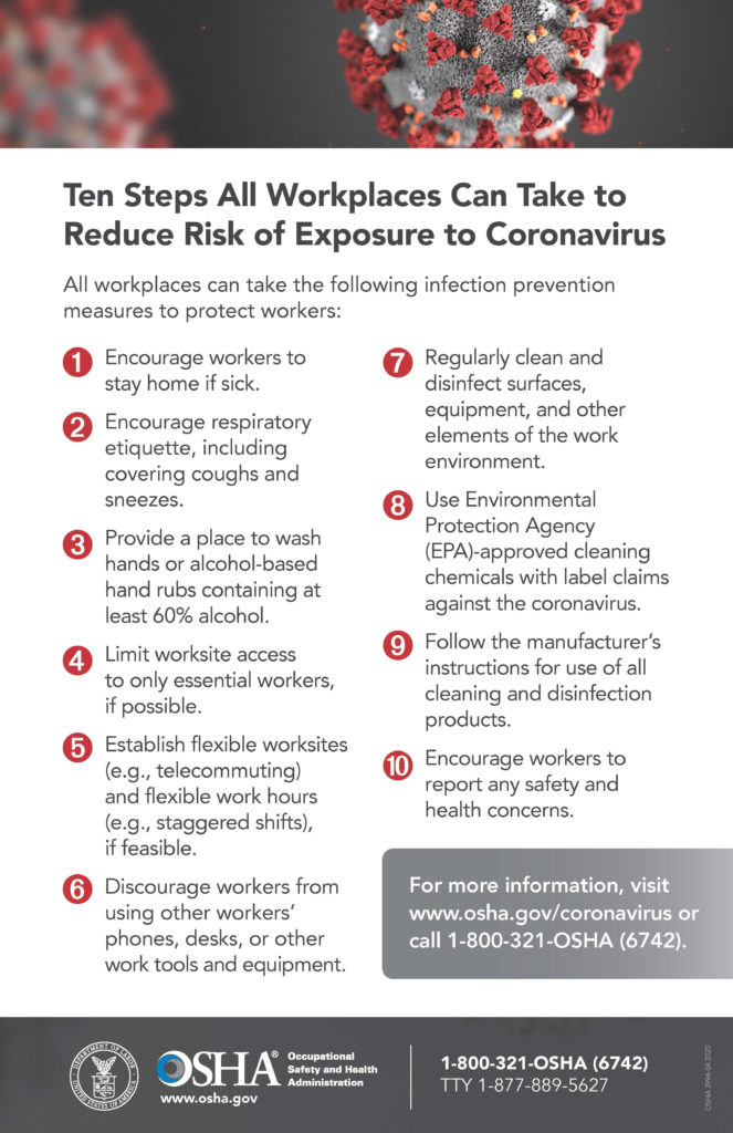 Ten Steps All Workplaces Can Take to Reduce Risk of Exposure to Coronavirus